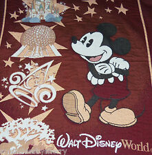 Walt Disney World Mickey Mouse Throw Blanket Woven Cinderella Castle Epcot