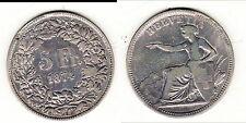 Suisse - 5 francs 1874 B (Berne) - frappe médaille    B1 T4