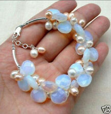Blue Fire Opal and Fresh Water Pearl Cluster Bracele 7.5 inches