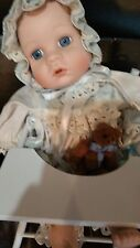 "davar products porcelain musical 12"" baby doll sitting"