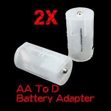2x AA to D Recharge Battery Converter Adaptor Adapter Home Office Case Cover Box
