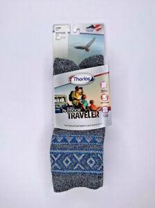 Thorlos Womens Outdoor Traveler Crew Socks size XS shoe 5-6.5 Grey/Glacier Blue