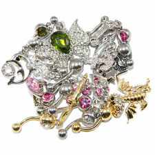 Belly Button Rings Fancy Dangle Design Pack Of 10 14G