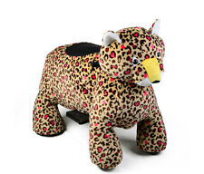 Coin Operated Electric Leopard Animal Scooter, Plush Mall Ride On Toy