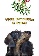 WIREHAIRED DACHSHUND CHRISTMAS CARD - Personalised + illustrated inside and out