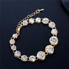 gold plated crystal bracelet bangle rhinestone cuff adjustable women jewelry