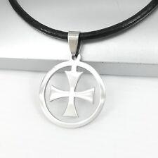 Silber Templer Kreuz Edelstahl Anhänger 3mm Schwarz Leder Halskette Damen Herren
