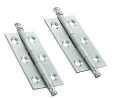 Satin Chrome Decorative Finial Cabinet Door 64mm x 35mm Butt Hinges (FTD)