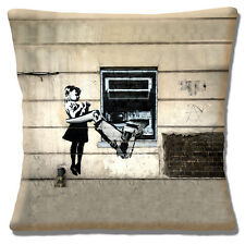 "Banksy Graffiti Artist Girl Cash Machine Mechanical Arm 16"" Pillow Cushion Cover"
