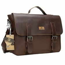 Vintage Leather Mens Messenger Bag Satchel Briefcase Laptop College Shoulder Bag