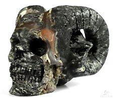 """5.0"""" BLACK TOURMALINE Carved Crystal Horned Skull, Crystal Healing"""
