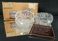 Vintage Italian RCR Royal Lead Crystal Rock Glass Trinket Holders Bowls Closing