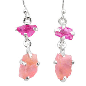 8.42cts Natural Pink Ruby Rough Rose Quartz Rough 925 Silver Earrings T25611