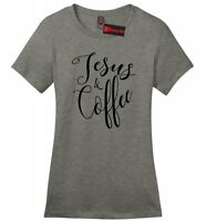 Jesus and Coffee Ladies Soft T Shirt Cute Religious Coffee Lover Gift Tee Z4