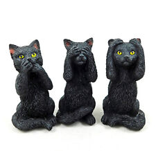 Three Lucky (3) Wise Cats Black Cat Figure Figurine Ornament Cat Statue NEW IN
