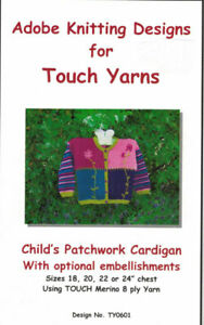 CHILDS PATCHWORK CARDIGAN with optional embellishments by Touch Yarns
