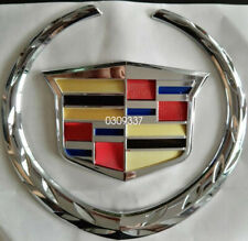 "Fits Cadillac CTS STS DTS Silver Chrome Front Grille 6"" Emblem Hood Badge Logo"