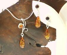 925 Silver Genuine Baltic Sea Honey Cognac Teardrop Amber Pendant & Earrings #1H
