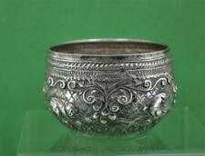 "Antique Indian silver Beaten Bowl animal decoration leaf mark 3 "" x  2""  43 gr"