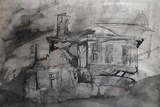 1994 ORIGINAL INK PAINTING EXPRESSIONIST LANDSCAPE HOUSE SIGNED