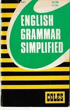 English Grammar Simplified - Coles Notes 1976 - J.J.L. Cannington - RARE