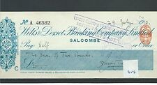 wbc. - CHEQUE - CH614- USED -1910/11 - WILTS & DORSET BANKING, SALCOMBE