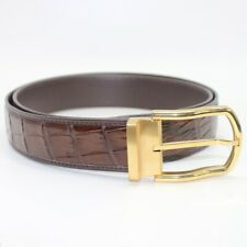 Genuine CROCODILE Belt Skin Leather Men's Accessories -W 1.5'', Brown, Unjointe