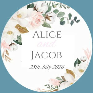 PERSONALISED GLOSS FLORAL WEDDING ENGAGEMENT FAVOUR LABELS,THANK YOU STICKERS