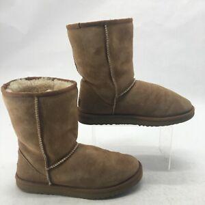 UGG Australia Womens 8 Classic Short Winter Boots Chestnut Suede Sheepskin 5825