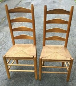 2 Vintage French Country Oak Wood Ladderback Chairs with Rush Seats - Rare!!
