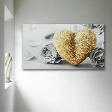 45x80cm Gold Heart Rose Canvas Wall Painting Pictures Art Home Decor Frameless