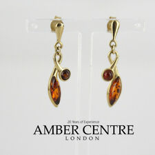 Italian Made Baltic Amber Knot Style Earrings in 9ct Gold GE0107 RRP£200!!!