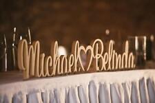 Personalised custom wedding  names heart love freestanding unpainted wooden sign