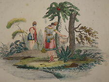 RARE Gravure fin XVIII COULEUR INDIENS VOYAGE NATIVE INDIANS AMERICA CANADA 1800