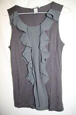 H&M Women's Gray sz M Top GRAY Dressy Ruffled Sleeveless Stretch Career