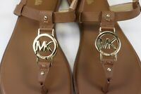 NIB MICHAEL KORS Size 6.5 Womens Luggage Saffiano Leather SONDRA THONG MK Sandal