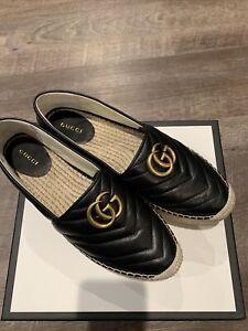 Gucci Pilar Star Espadrille Black Leather shoes 39(US9)