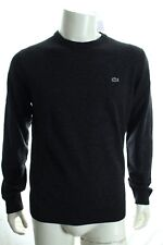 BNWT LACOSTE AH2995 MEN'S DARK CHARCOAL JUMPER PURE NEW WOOL CREW NECK SWEATER