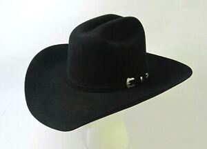 Serratelli 6X Beaver Entre III Black Felt Cowboy Hat Size 6 7/8 Long Oval VGC!