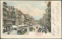 Postkarte Magdeburg -Breiterweg mit Strassenbahnen, litho, 1900 nach Stassfurt