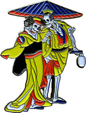 3942 Hippie Skeletons In Yellow Robes Enamel Hat Pin Button Brooch Parasol Asian