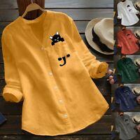 Women Cotton Linen Casual Cat Printed Long Sleeve Shirt Blouse Button Down Tops