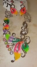Multi Color Rhinestone Choker Necklace & Pierced Earrings