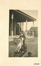 C-1910 Little Girl Toy Rocking Horse RPPC real photo postcard 7760
