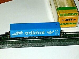 Minitrix 3563  Container Tragwagen  ADIDAS   in Originalbox   wie neu......