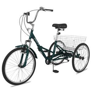 Adult Folding Tricycle 7Speed Bike Trike Dark Green 26'' 3Wheel Low Step-Through