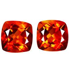 4.46Cts Natural Ravishing Golden Orange Color Citrine 8MM Cushion Matching Pair