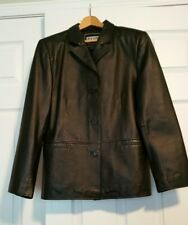 CLIO Womens 100% Leather Jacket Size M Black Button Up Lined Coat