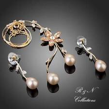 18K Gold Plated Pearl with Swiss Cubic Zirconia Earrings & Necklace Jewelry Set