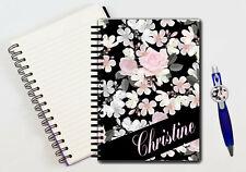 Cahier à spirales et stylo Fleurs personnalisé avec prénom
